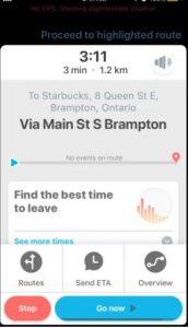 Waze app menu